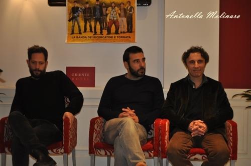 Gli attori Lorenzo Lavia, Edoardo Leo e Valerio Aprea