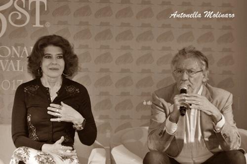 L'attrice Fanny Ardant con Felice Laudadio
