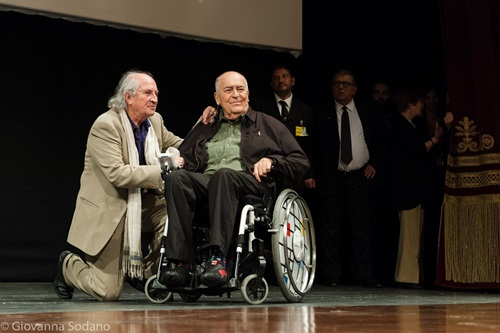 Il regista Bernardo Bertolucci con il direttore della fotografia Vittorio Storaro