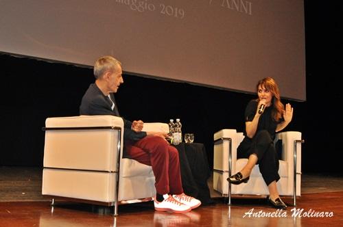 L'attrice Paola Cortellesi con il critico David Grieco