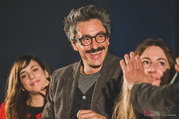 L'attore di In bici senza sella Luca Scapparone