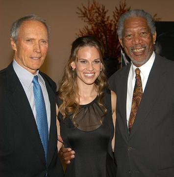 Clint Eastwood, Hilary Swank e Morgan Freeman