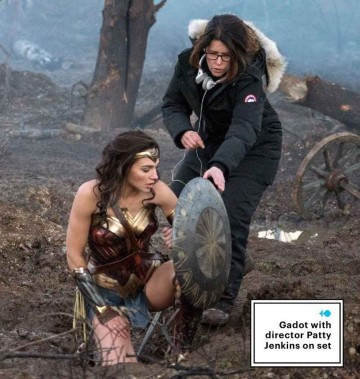 Gal Gadot sul set di Wonder Woman