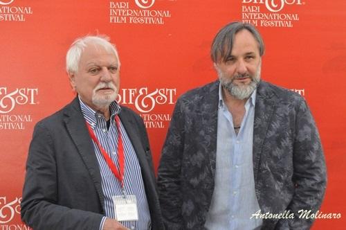 Il critico cinematografico Jean Gili con l'attore Maurizio Donadoni