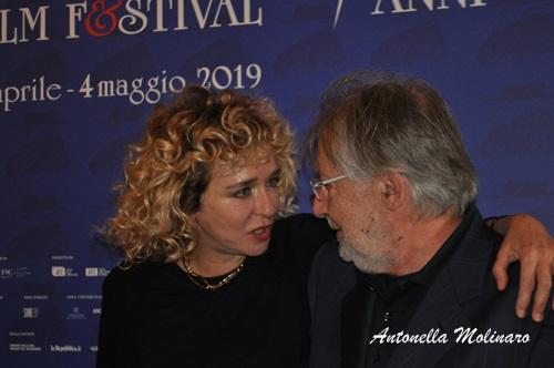 L'attrice e regista Valeria Golino con Felice Laudadio